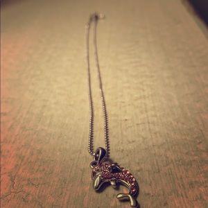Pink gemstone dolphin necklace